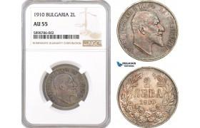 AF373, Bulgaria, Ferdinand I, 2 Leva 1910, Silver, NGC AU55