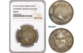 AF374, Burma, Kyat CS1214 (1852) Silver, Lettering Around Peacock, NGC AU55