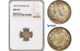 AF375, Canada, Edward VII, 5 Cents 1907, Silver, NGC MS65+, Pop 2/2