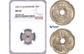 AF378-R, Denmark, Christian X, 10 Øre 1947, Copenhagen, NGC MS64, Rare!