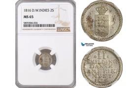 AF379-R, Danish West Indies, 2 Skilling 1816, Silver, NGC MS65, Pop 2/1, Rare!