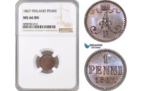 AF381, Finland, Alexander II. of Russia, 1 Penni 1867, NGC MS66BN, Top Pop!