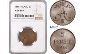 AF382, Finland, Alexander III. of Russia, 5 Penniä 1889, NGC MS64BN