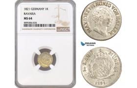AF386-R, Germany, Bavaria, Maximilian I Joseph, 1 Kreuzer 1821, Silver, NGC MS64