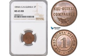 AF387, German New Guinea, 1 Pfennig 1894-A, Berlin, NGC MS65