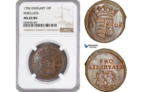 AF390, Hungary, Rebellion, 10 Poltura 1706, NGC MS66BN, Pop 1/0