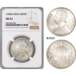 AF391-R, India (British) Victoria, Rupee 1900-B, Bombay, Silver, NGC MS62