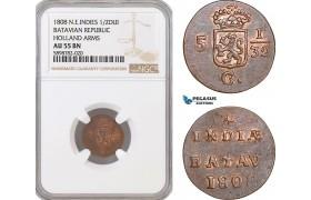 AF395, Netherlands East Indies, Batavian Rep. 1/2 Duit 1808, Holland Arms, NGC AU55BN