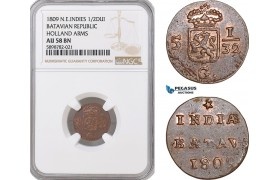 AF396, Netherlands East Indies, Batavian Rep. 1/2 Duit 1809, Holland Arms, NGC AU58BN