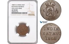 AF397, Netherlands East Indies, Batavian Rep. 1 Duit 1808, Holland Arms, NGC AU58BN