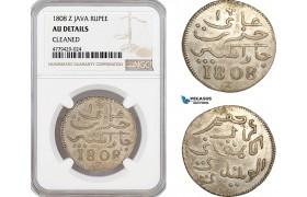 AF398, Netherlands East Indies, Java, Rupee 1808 Z, Silver, NGC AU Det.