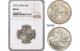 AF401-R, Latvia, 50 Santimi 1922, NGC MS64