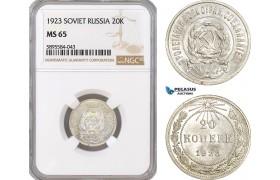 AF409-R, Russia, Soviet, 20 Kopeks 1923, Leningrad, Silver, NGC MS65