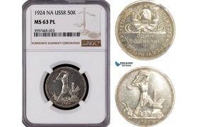 AF410, Russia, USSR, 50 Kopeks 1924, Leningrad, Silver, NGC MS63 PL, Pop 1/0 as PL