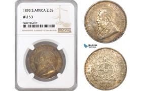 AF411, South Africa (ZAR) 2 1/2 Shillings 1893, Pretoria, Silver, NGC AU53