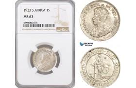 AF412, South Africa, George V, 1 Shilling 1923, Pretoria, Silver, NGC MS62