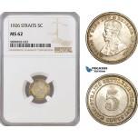 AF414, Straits Settlements, George V, 5 Cents 1926, Silver, NGC MS62