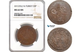 AF419, Ottoman Empire (Turkey) Abdülmecid, 20 Para AH1255/16, NGC MS62BN, Pop 1/0