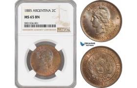 AF422, Argentina, 2 Centavos 1885, NGC MS65BN