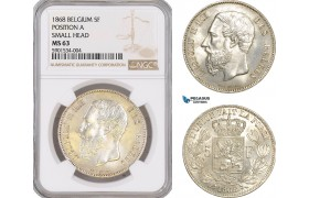 AF425, Belgium, Leopold II, 5 Francs 1868, Brussels, Silver, Position A, Small Head, NGC MS63
