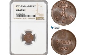 AF435, Finland, Alexander III. of Russia, 1 Penni 1883, NGC MS65BN