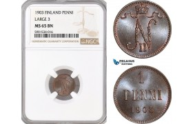 AF436, Finland, Nicholas II. of Russia, 1 Penni 1903 (Large 3) NGC MS65BN