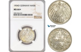 AF438, Germany, Wilhelm II, 1 Mark 1904-D, Munich, Silver, NGC MS66+, Pop 1/1