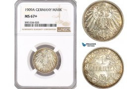 AF439, Germany, Wilhelm II, 1 Mark 1909-A, Berlin, Silver, NGC MS67+, Pop 1/0