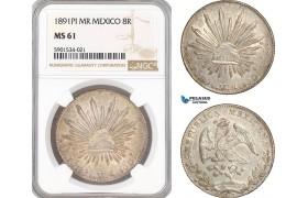 AF440, Mexico, 8 Reales 1891-Pi MR, San Luis Potosi , Silver, NGC MS61