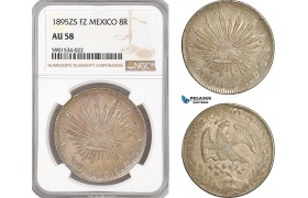 AF441, Mexico, 8 Reales 1895 Zs FZ, Zacatecas, Silver, NGC AU58
