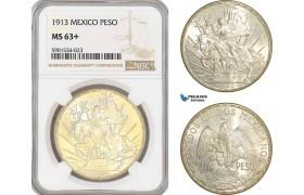 "AF442, Mexico, ""Caballito"" Peso 1913, Silver, NGC MS63+"