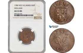 AF442, Netherlands East Indies, VOC, 1 Duit 1780, Holland Arms, NGC AU55BN