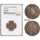 AF444, Netherlands East Indies, VOC, 1 Duit 1790 (1840-43) Utrecht Arms, NGC MS63BN, Pop 1/0