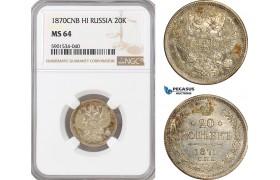 AF451, Russia, Alexander II, 20 Kopeks 1870 СПБ-HI, St. Petersburg, NGC MS64