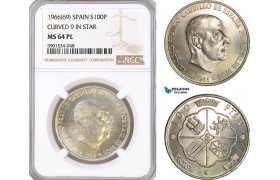 "AF456, Spain, Franco, 100 Pesetas 1966 (69) Curved ""9"" In Star, NGC MS64PL"