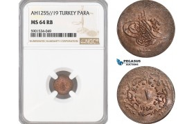 AF458, Ottoman Empire, Turkey, Abdul Mejid, 1 Para 1255/16, NGC MS64BN, Pop 4/0