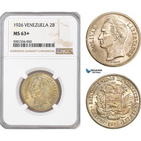 AF459, Venezuela, 2 Bolivares 1926, Philadelphia, Silver, NGC MS63+, Pop 1/1, Rare Grade!