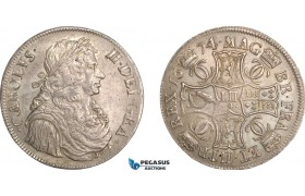 AF463, Scotland, Charles II, First coinage, 4 Merks 1674, type III, Edinburgh, Silver, S.5606, aUNC, Adjusment marks, Very Rare!