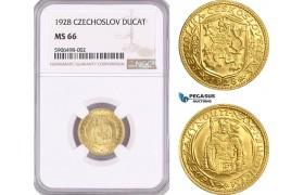 AF465, Czechoslovakia, Ducat 1928, Kremnica, Gold, NGC MS66