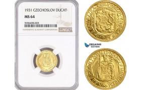 AF466, Czechoslovakia, Ducat 1931, Kremnica, Gold, NGC MS64