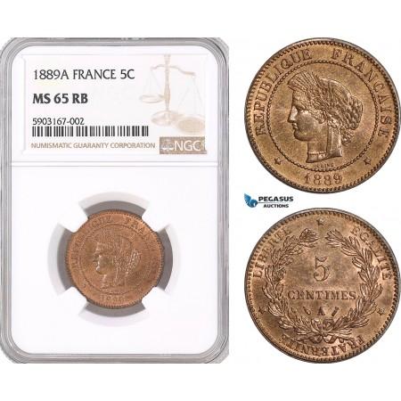 AF467, France, Third Republic, 5 Centimes 1889-A, Paris, NGC MS65RB
