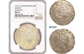 AF468, Netherlands, Kampen, Mathias I, 28 Stuiver ND (1611-19) Silver, NGC MS63