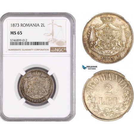 AF473, Romania, Carol I, 2 Lei 1873, Brussels, Silver, NGC MS65, Pop 1/0, Very Rare!