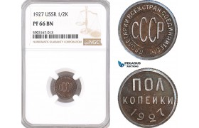 AF476, Russia, USSR, 1/2 Kopek 1927, Leningrad, NGC PF66BN, Pop 1/0, Extremely Rare!