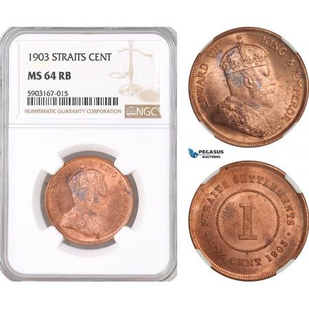 AF478, Straits Settlements, Edward VII, 1 Cent 1903, NGC MS64RB