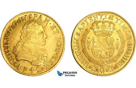 AF487, Mexico, Philip V, 8 Escudos 1742 Mo MF, Mexico City, Gold, AU