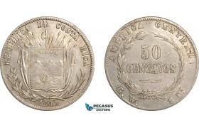 AF497, Costa Rica, 50 Centavos 1890 GW, Silver, aXF