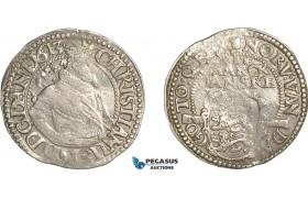 AF498, Denmark, Christian IV, 1 Mark 1613, Copenhagen, Silver (8.16g) aXF