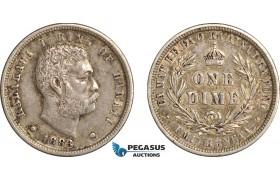 AF505, Hawaii, Kalakaua I, Dime (10c) 1883, Silver, Toned aXF