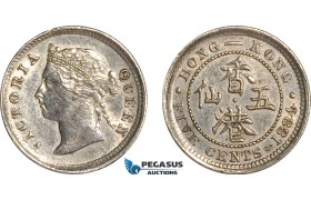 AF506, Hong Kong, Victoria, 5 Cents 1884, London, Silver, Cleaned AU